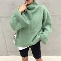 HAMALIEL Women Light Green Mink Cashmere Plus Size Sweater Fall Winter Flrae Sleeve Knitted Soft Warm Pullover Casual Loose Tops