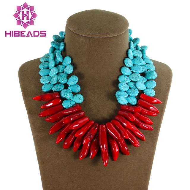 9989b8059677 Última moda doble filas teardrop 13 15mm collar de piedra natural de coral  rojo colgante