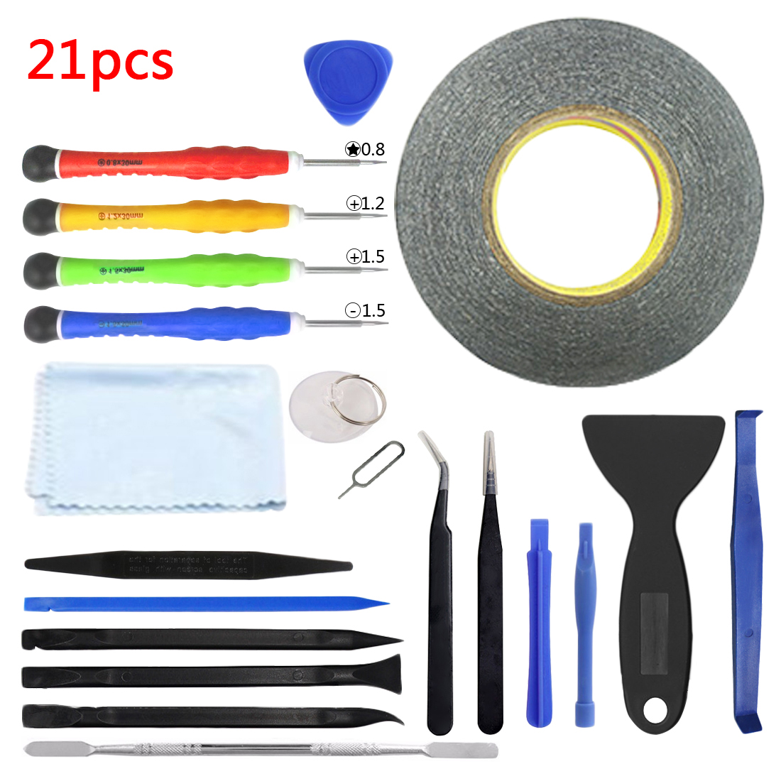 Hand Tool 21pcs DIY Phone Repair Kit Opening Pry Tool Screwdriver Set With Tape for iPhone6/6s/7 for Ipad Screen Replacement ...