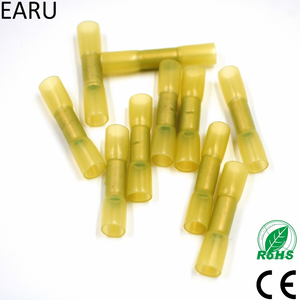 50pcs Yellow 12-10 AWG Heat Shrink Butt Wire Cable Crimp Connector Electrical Terminals 4.0-6.0mm2 Quick Connect Connector BHT