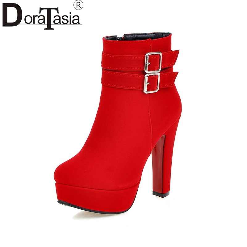 DoraTasia 2017 Large Size 30 50 Platform Flock Red font b Black b font Woman Shoes