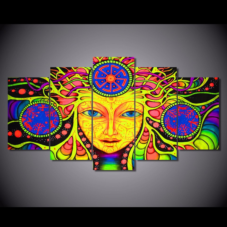 5 teilesatz gerahmte hd gedruckt psychedelic mandala abstrakte kunstdruck poster bilder moderne leinwand abstrakte - Moderne Bder