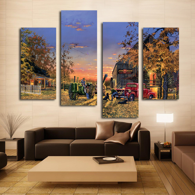 Stretched 4pcs Happy Memory Picture John Deere Farm in Sunset ...