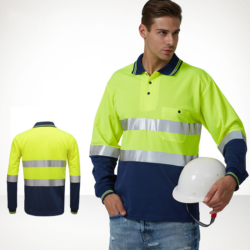 SFvest EN471 High visibility workwear two tone safety long sleeve yellow shirt reflective work shirt clothing button up two tone work shirt