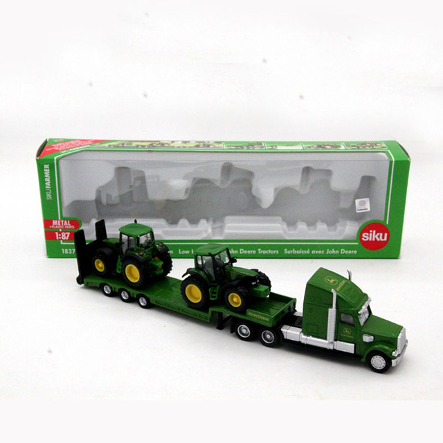 1:87 Siku 1837 Farmer Low Loader With 2 John Dere Tractors Models Diecasts Toy Vehicles Collection Kids Toys Gift High Quality