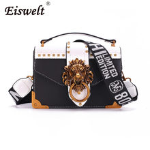 Dropshipping Metal Lion Head Mini Small Square Pack Shoulder Bag Crossbody Package Clutch Women Wallet Handbags Bolsos Mujer(China)