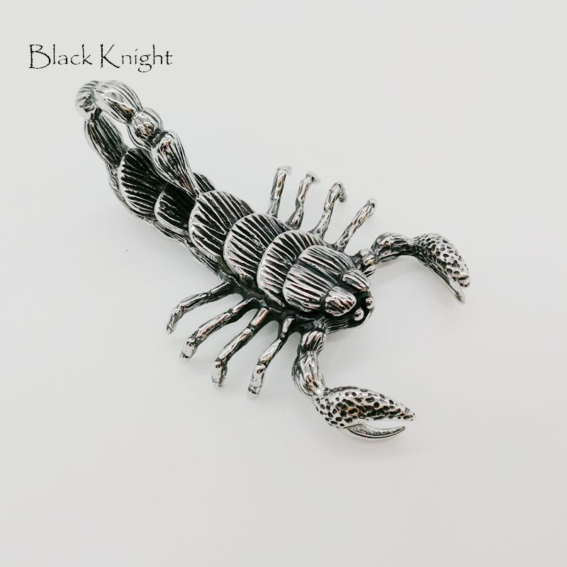 Black Knight Vintage big scorpion pendant necklace stainless steel cool scorpion animal mens necklace fashion BLKN0696 in Pendant Necklaces from Jewelry Accessories