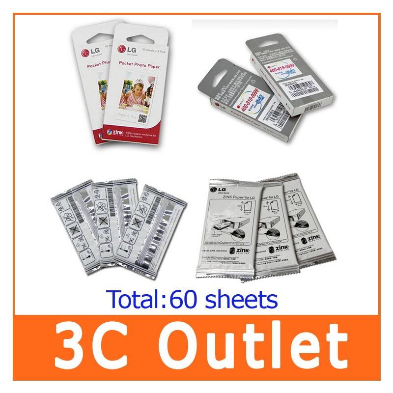 ФОТО 100% Original LG Zink Pocket Photo Paper ,  60 Sheets for LG PD221, PD239, PD251