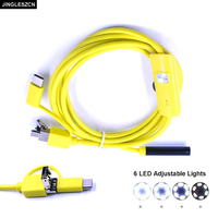 JINGLESZCN 3 In 1 7mm USB Endoscope 6 LED Waterproof IP67 Borescope Inspection Camera 1M 1