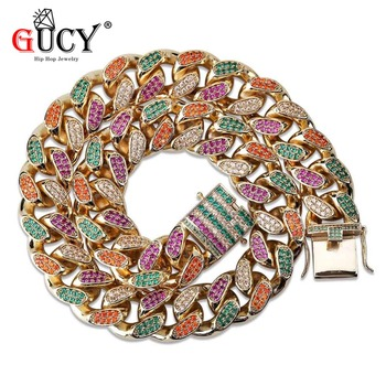 GUCY 18MM Hip Hop Cuban Chain Necklace Micro Pave Multicolor Cubic Zircon Stones Gold Silver Color Heavy Necklaces Gift For Men - discount item  25% OFF Fashion Jewelry