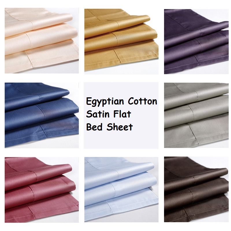 LYN GY 2018 New Luxury Wrinkle Free Hotel Home Egyptian Cotton Satin Flat Bed Sheet Queen
