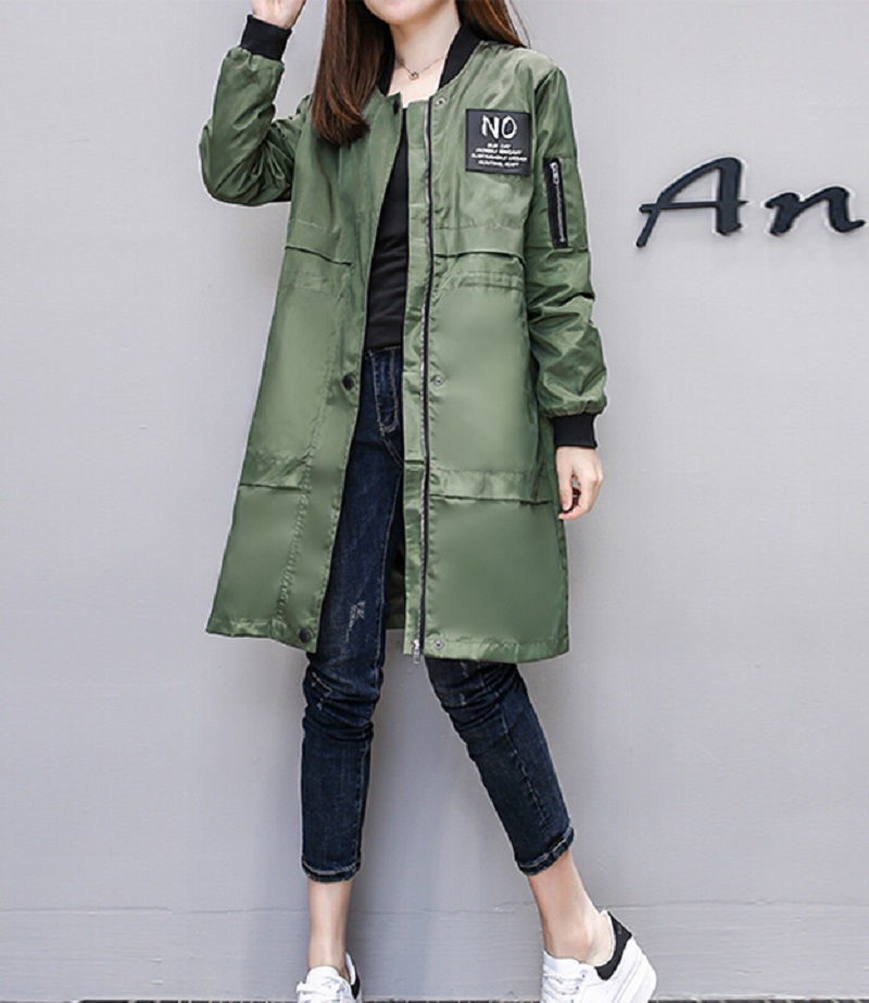 Trench   Coat for Women Streetwear Long Sleeve Zipper Spring Coat Casaco Feminino Army Green Water-proof Women's Overcoat