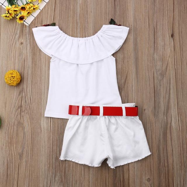 Toddler Girls Off The Shoulder Flower two-piece set