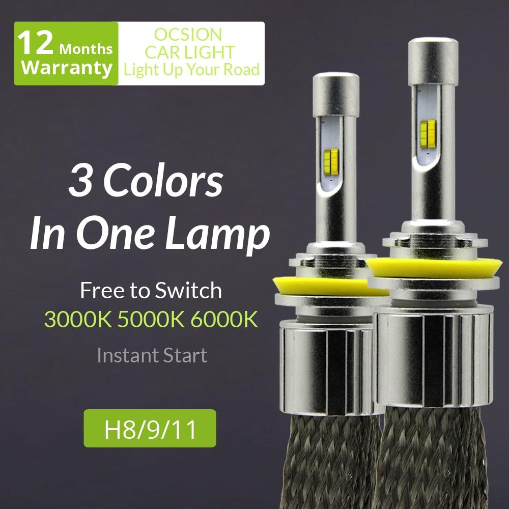H8 H9 H11 LED Headlight bulb 60w 7200lm Automobiles Headlights 3000k 5000k 6000k Car Fog Lamp Yellow 3 colors in one lamp