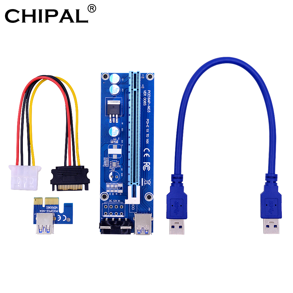 Trustful Pci-e 1x To 16x Extender Riser Card 6pin Cable With Led Light For Btc Miner A Great Variety Of Goods Computer Cables & Connectors