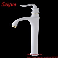 White Perfect European Style Bathroom Sink Basin Faucet White Painting Golden Polished Deck Mounted Mixer Taps