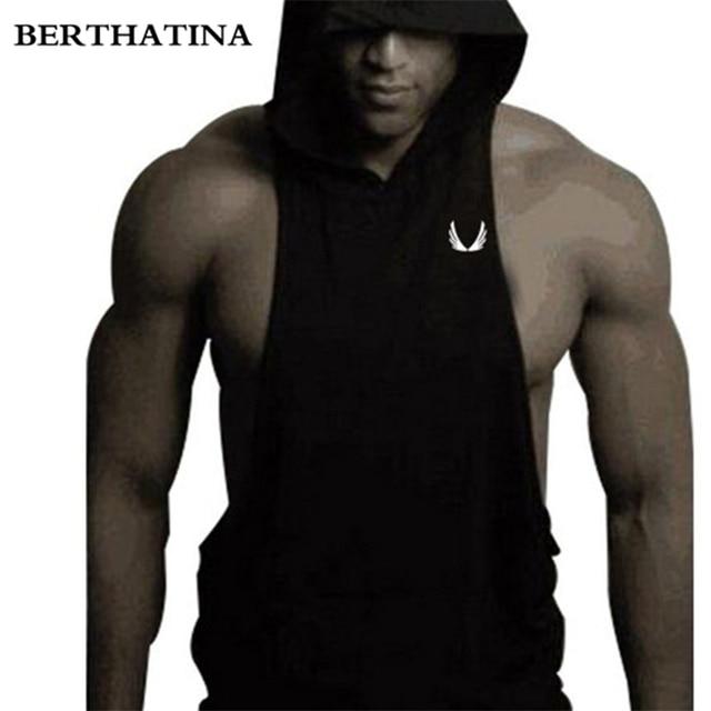 ffc504e0 BERTHATINA Male Bodybuilding Wing Printed Sleeveless Waistcoat Hooded Vest  Fitness Singlet Gilet Men Vest Mesh Exercise Tank Top