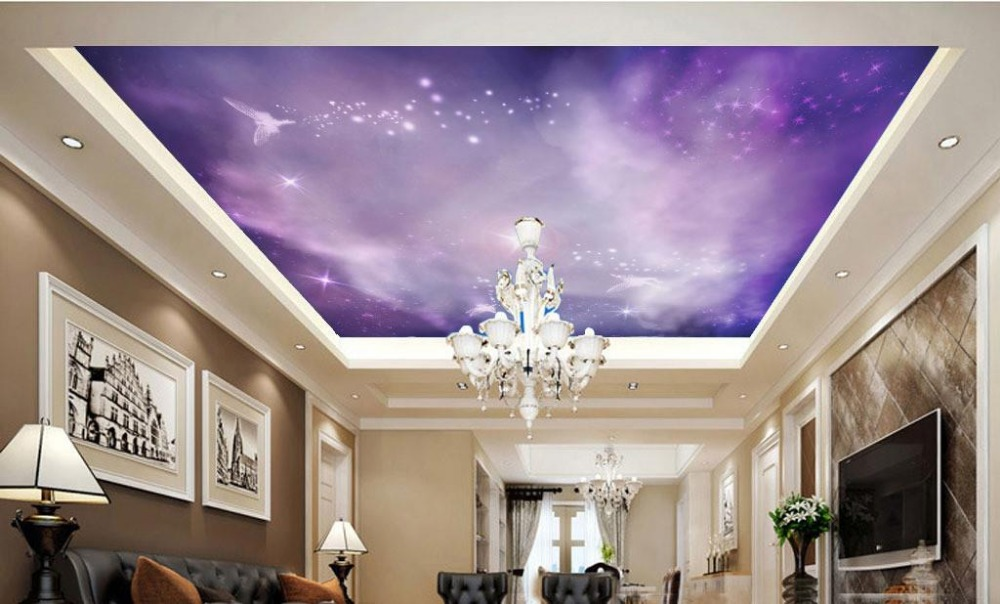 High grade customized 3d night sky wallpaper for ceiling Purple Angel  Nebula wallpaper bedroom Non. Popular Night Sky Bedroom Ceiling Buy Cheap Night Sky Bedroom