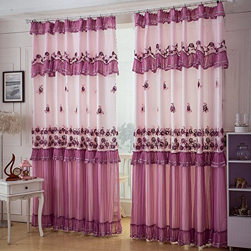 WINLIFE Brand Purple Rose Window Treatments Elegant Lilac Window Shade Lace Living Room Curtain 2Panels