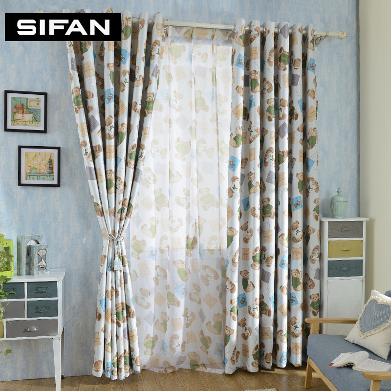 Cartoon bear printed blackout curtains for bedroom living room curtains for children room kids - Amusing kids room curtains ...