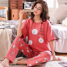 Tony& Candice New womens pajamas set printing 2 sets of short jacket + trousers loose shirt home service cotton cartoon