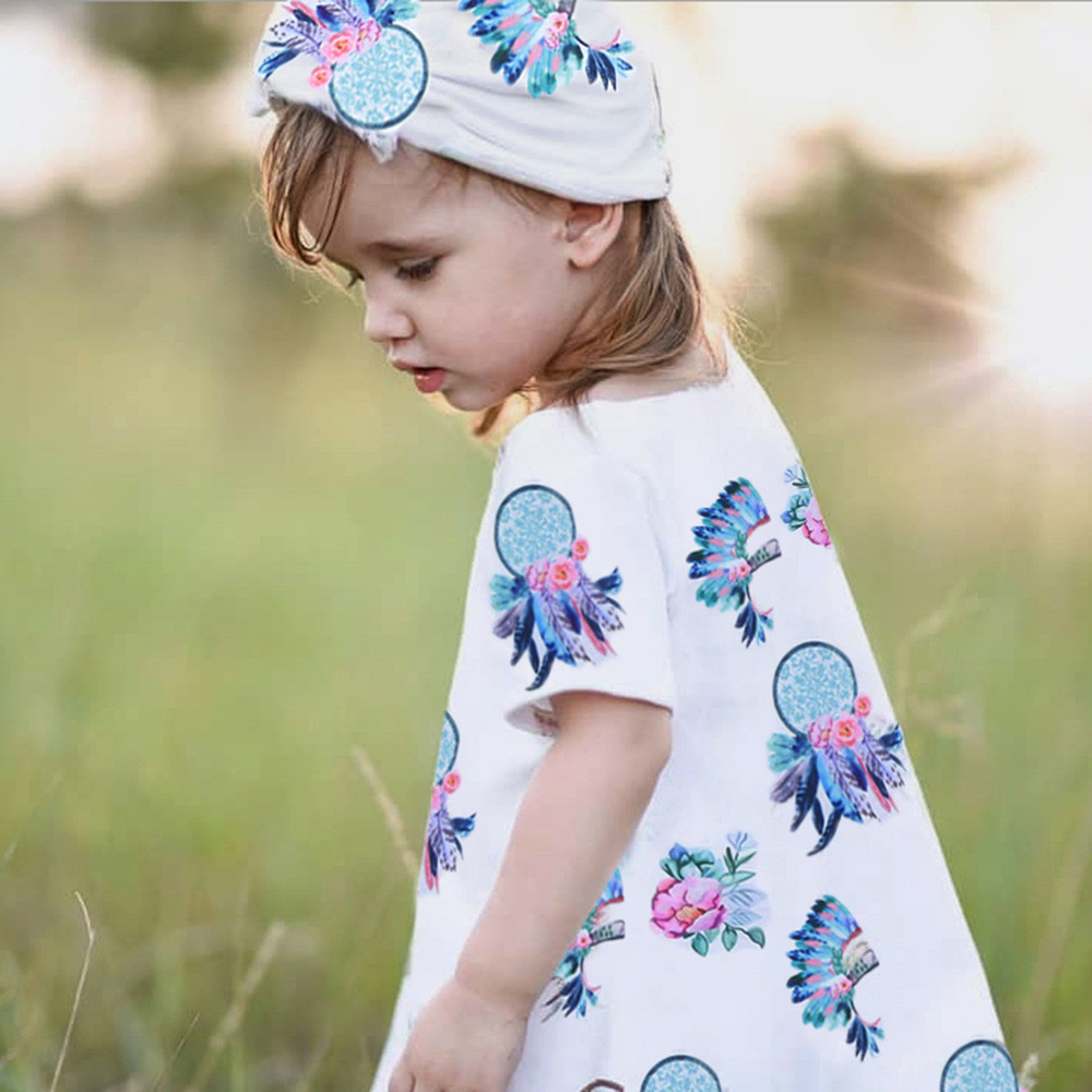 2018 New Fashion Toddler Infant Baby Girls Dress Feather Floral Print Dresses Clothing Outfits High Quality Drop Shipping