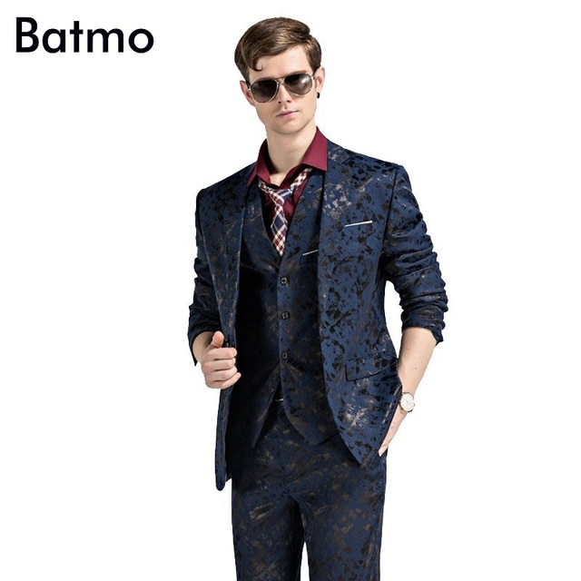 2017 new arrival High quality black printed blue suits men,wedding ...