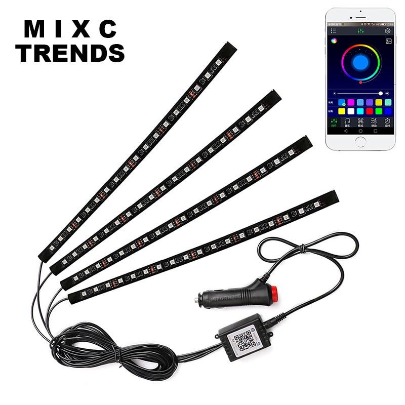 18LED Flexible Voiture RGB LED Bande Lumière Bluetooth Téléphone APP Contrôle Atmosphère Lampe Musice Voix Décoratif De Voiture Intérieur Lumière dans Lampe décorative de Automobiles et Motos
