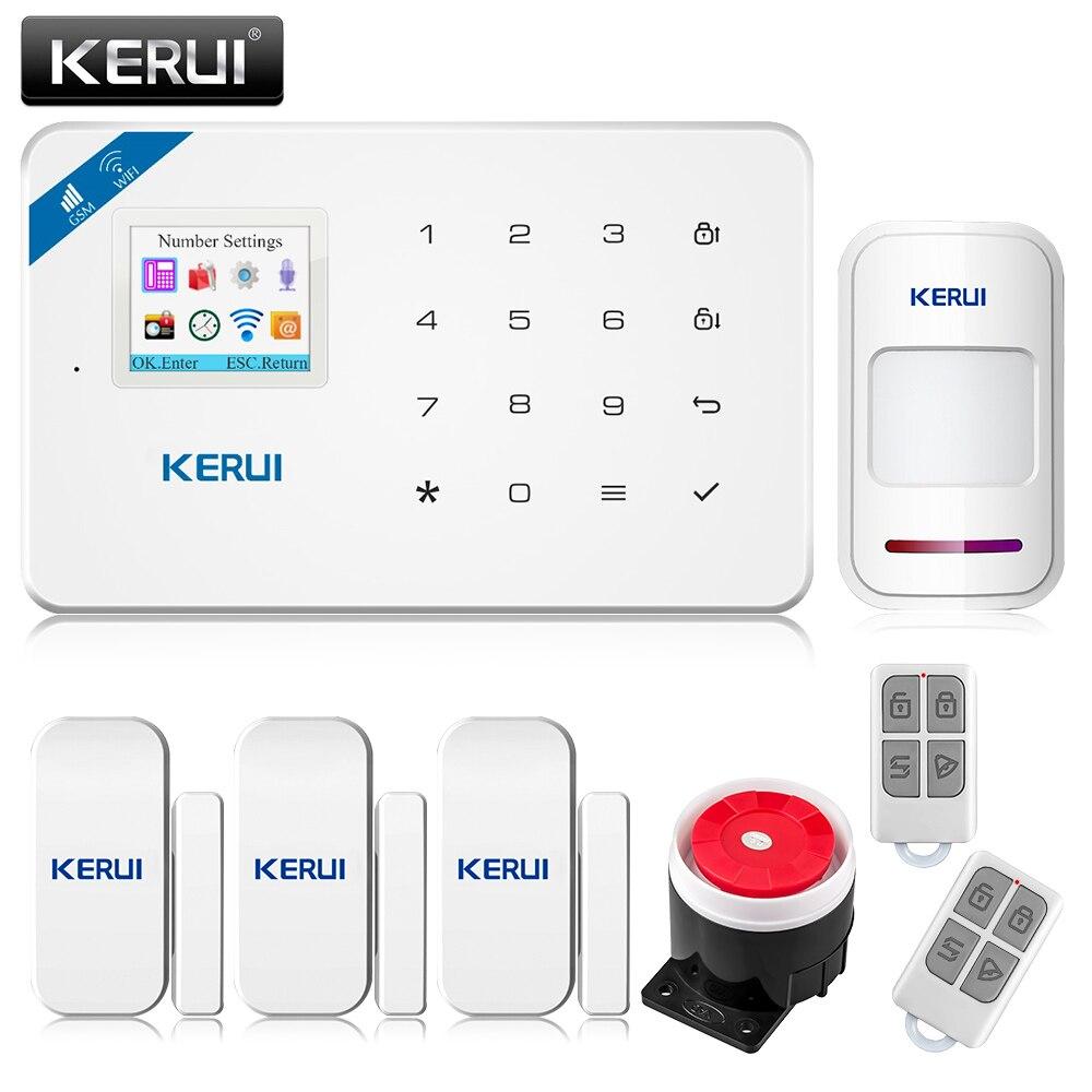 imágenes para 2017 W18 Kerui Wireless Wifi GSM IOS/Android APP Control LCD GSM SMS Sistema de Alarma Antirrobo Para la Seguridad Casera
