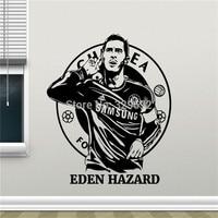 Logotipo del equipo de fútbol club de fútbol Eden Hazard Art Etiqueta de la Pared de vinilo etiqueta de la pared removible casa decoración Estrella de Fútbol calcomanía Footba
