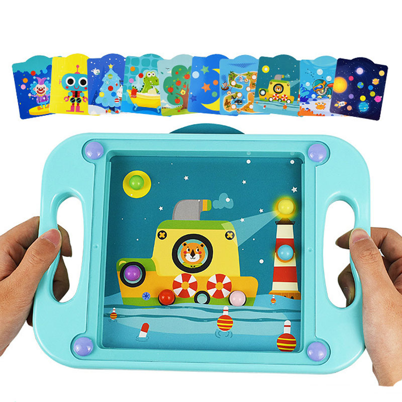 Mini Balance Ball Handheld Game Puzzle Box Board Cartoon 3D Education Puzzle Game Toy For Kids Early Education Kindergarten