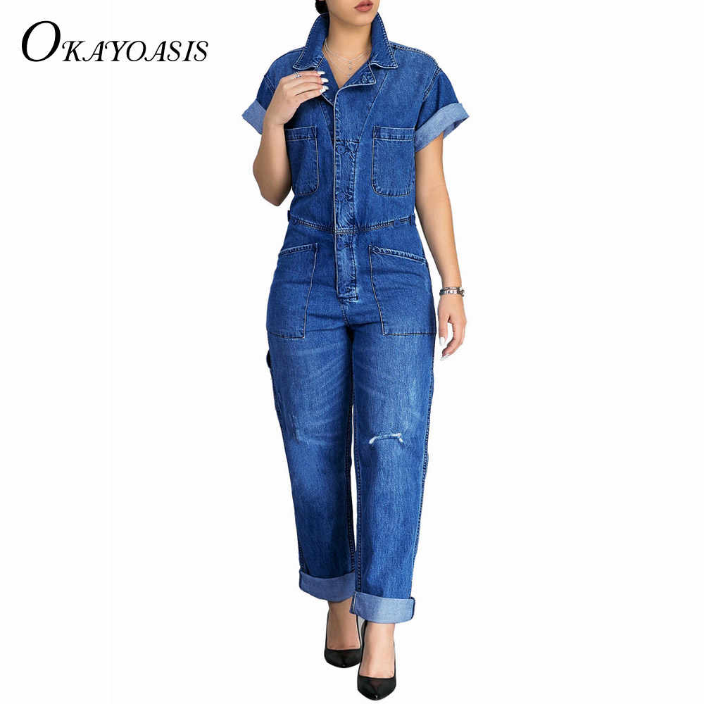 83473a243c3 ... OKAYOASIS 2018 Fashion Women s Casual Loose Summer Short Sleeve Denim Overalls  Large Size Pockets Jeans Jumpsuits