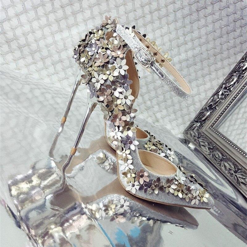 Paillettes tissu fleur décor pompes bout pointu parti stiletto chaussures nighe club mariage mariée femme brillant chaussures spécial chaussures - 4