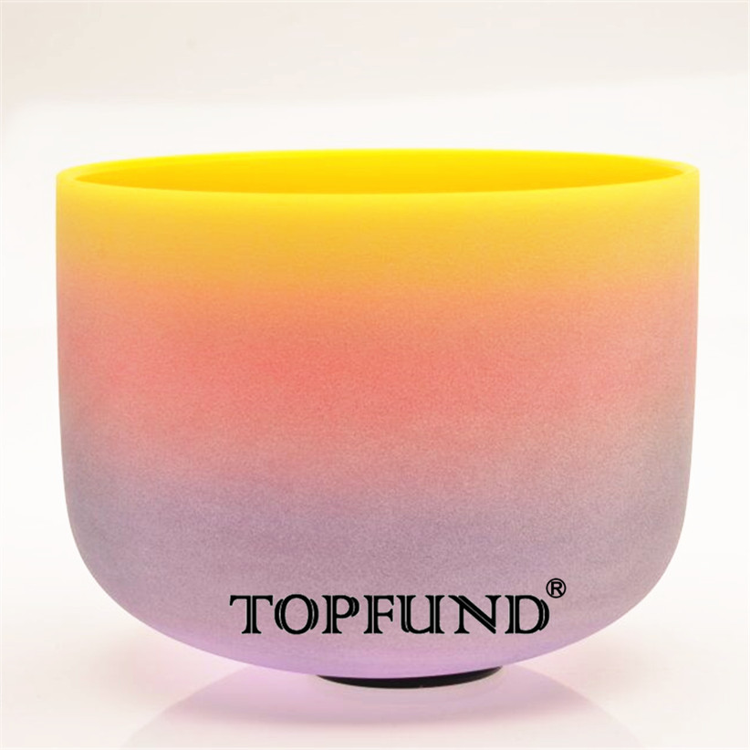 TOPFUND Rainbow Colored E Solar Plexus Chakra Frosted Quartz Crystal Singing Bowl 12 -With Free Mallet and O-Ring topfund red color perfect pitch c adrenals chakra frosted quartz crystal singing bowl 10 with free mallet and o ring