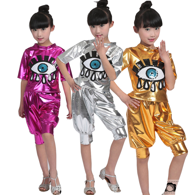 30214e0d9 Girls Sequin Ballroom Jazz Hip Hop Dance Competition Costume Kid ...