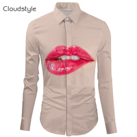 Cloudstyle2017male social shirt chinese shirt fashion Black\White men shirt long sleeve Big lips male shirt long sleeve M 2XL