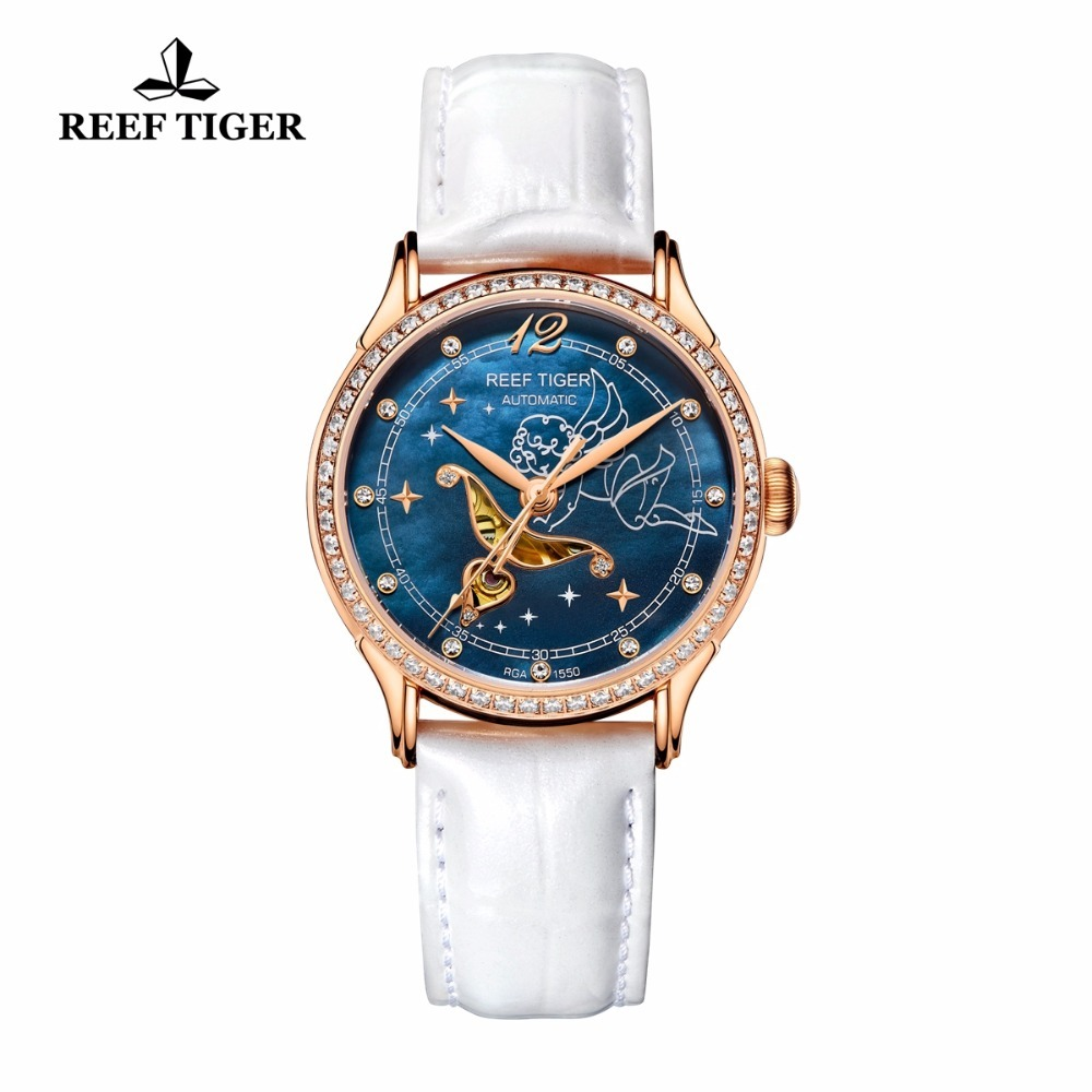 2017 Reef Tiger/RT Blue Dial Watches for Women Diamonds Automatic Watch Leather Band Rose Gold Fashion Watches RGA1550 yn e3 rt ttl radio trigger speedlite transmitter as st e3 rt for canon 600ex rt new arrival