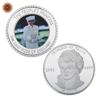 WR Diana Silver Plated Foil Coin Commemorative Colored Customized Metal Coin Luxury Home Decoration for Collection