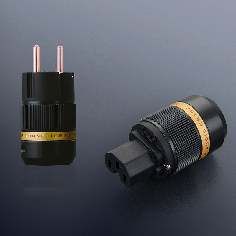 Free shipping one pair Viborg VE501/VF501 pure copper Schuko Power Connector IEC Plug Connector Audio Male Plug HIFI Power Plug free shipping one pair copper colour aluminum alloy copper us power plug iec plug for power cable