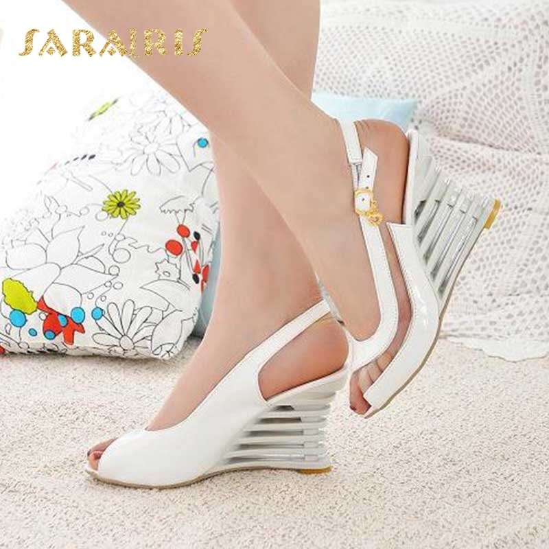 SaraIris 2018 large size3 34-43 Summer wedge High Heel Peep Toe Buckle Up Party White Black Blue Pink women Shoes Woman Sandals