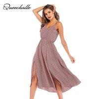 2019 летнее платье женское платье с перекрещивающимися бретельками, шифоновое платье с красным принтом, сексуальное свободное платье миди с ...