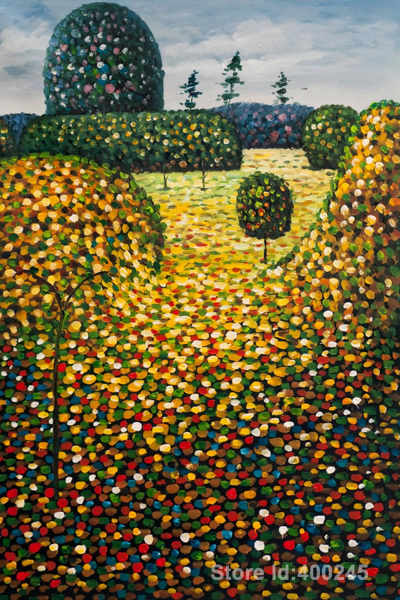 Golden Art Field of Poppies by Gustav Klimt Oil painting reproduction Hand painted High quality