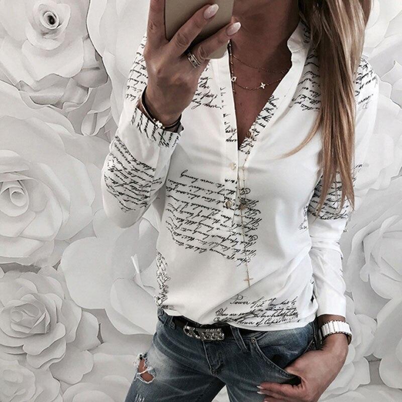 New Women's 2019 Autumn Hot Trend Fashion V-neck Casual Letter Long-sleeved Women's Shirt