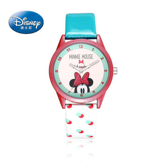 fashion girls watch Cartoon Anime Disney Watches child girls waterproof Wristwatches mickey mouse leather  Quartz clocks