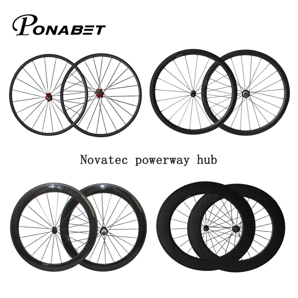 Novatec powerway hub Chinese Carbon road wheels bike wheel China carbon wheelset rim 38mm 50mm 60mm 88mm tubular clincher 700C black spokes 20h 24h road bike 700c carbon alloy wheels 38mm clincher with black novatec hubs a291 f482sb