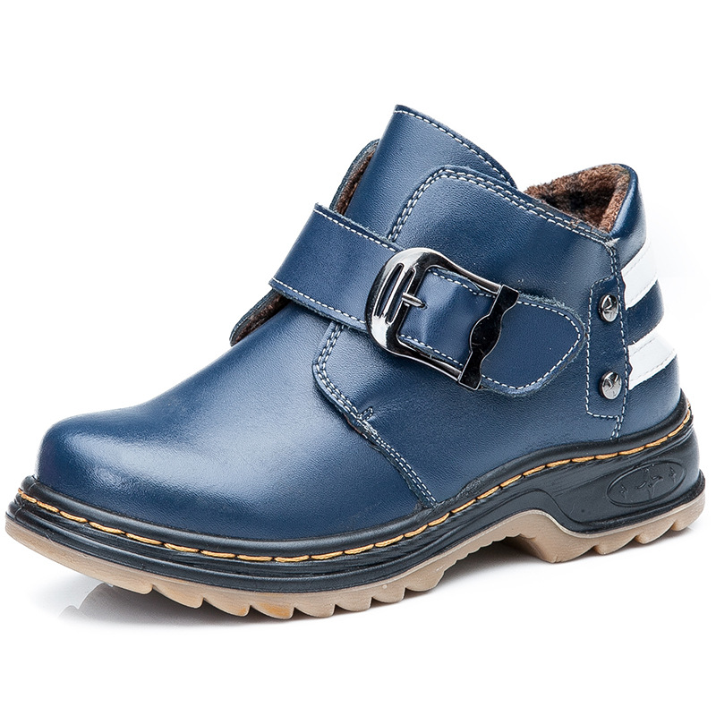ZENOBIAPEARL Children Genuine Leather Shoes Boys Autumn Winter Casual Sports Shoes Boys Leather School Martin Boots Flats Shoes