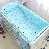 6pcs 7pcs Cotton Baby Crib Bumpers Bedding Cartoon Cloud Prints Baby Bedding Sets Bed Safety Baby Newborn Crib Bumper Set