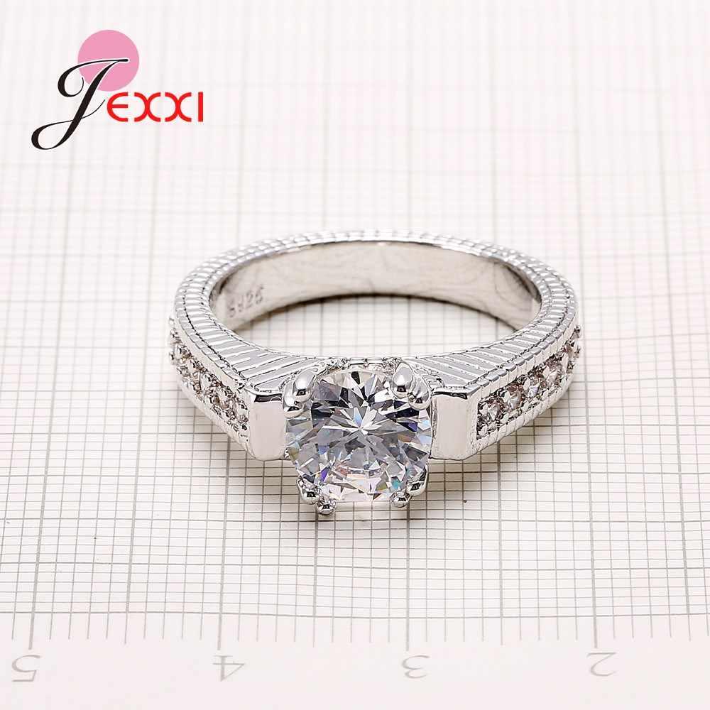 ロマンチックな 2 個のカップルリングセット最高品質 925 スターリングシルバースタンプキュービックジルコニア女性婚約指輪ウエディングジュエリー