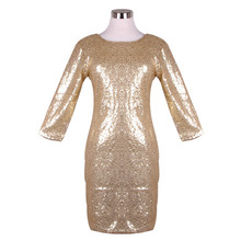 2018 New Spring Summer Style Dress Women O Neck Long Sleeve paillette Sequins Backless Bodycon Slim Pencil Party Dresses