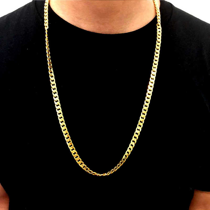 Gold Filled Solid Necklace Curb Chains Link Men Choker Stainless Steel Male Female Accessories Fashion